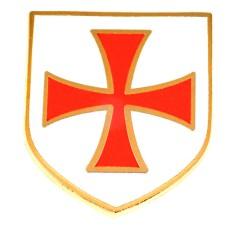 ピンズ・New!赤い盾マルタ騎士団キリスト教カトリック騎士修道会デラックス薄型留め金付