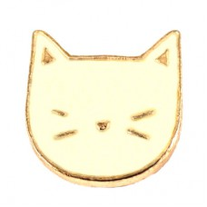 ピンズ・目を閉じた白いネコ白猫