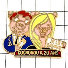 ピンバッジ・ブタ豚のカップル男女ピンク知ってたわフランス語