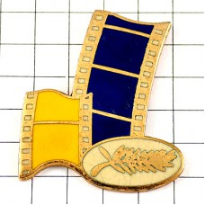 ピンバッジ・第45回カンヌ映画祭パルムドール金色フィルム青と黄色