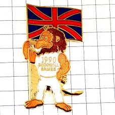 ピンズ・グッドウィルゲームズ国旗イギリス英国ユニオンジャックUKライオンのスポーツマン白い服