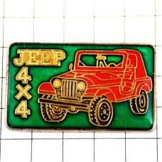 ピンバッジ・赤いジープ四輪駆動車4X4