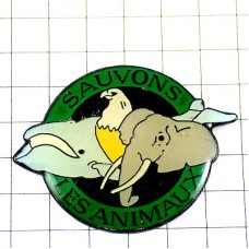 ピンバッジ・鯨くじら象鷲など動物たち動物愛護