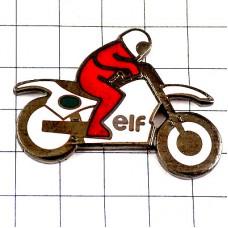 ピンズ・白いバイク二輪エルフ石油オートバイ赤いライダー