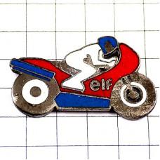 ピンズ・バイク二輪エルフ石油トリコロール青白赤