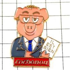 ピンバッジ・スーツ背広のブタ豚メモ彼は大丈夫