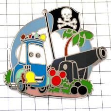ピンバッジ・海賊のドクロの旗クルマ大砲ミッキーマウス赤ディズニーランド