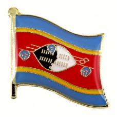 ピンズ・New!エスワティニ盾と槍の国旗デラックス薄型キャッチ付き