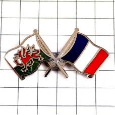 ピンバッジ・ウェールズ旗フランス国旗ドラゴン竜龍