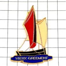 ピンバッジ・ボート帆船ヨット一隻