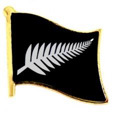 ピンズ・New!ニュージーランド植物シルバーファーン旗ラグビーオールブラックス黒
