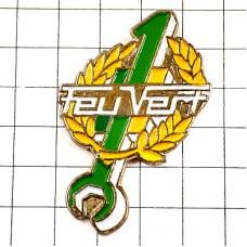 ピンズ・数字「1」のスパナ工具グリーン緑色