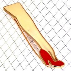 ブローチ・New!長い足ハイヒール赤い靴