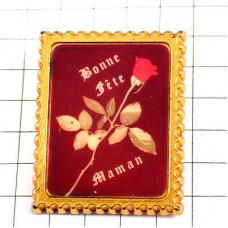 ピンズ・母の日一輪のバラの花ローズ郵便切手型