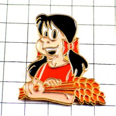 ピンバッジ・小麦の穂を抱える女の子