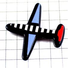 ピンズ・飛行機トリコロール青白赤プラスチック製