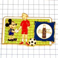 ピンズ・ミッキーマウスとタンタンのサッカー選手コカコーラ瓶ワールドカップ1998フランス大会