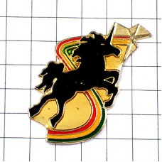 ピンズ・黒い馬ユニコーン一角獣カラフル虹色