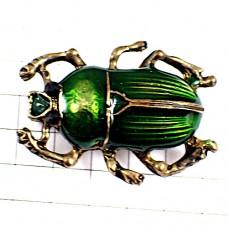 ブローチ・緑色の背中の虫ゴールド金色