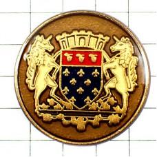 ピンズ・百合の紋章ユニコーン一角獣ゴールド馬2頭