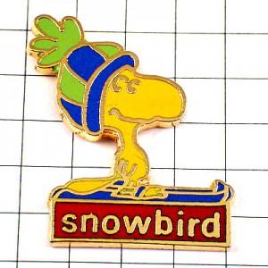 ピンズ・スヌーピーのウッドストック冬スキー雪鳥