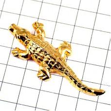 ピンズ・金色のワニ鰐ゴールド動物