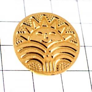 ピンバッジ・太陽わきでる温泉ゴールド金色