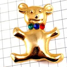 ブローチ・金色クマ熊ぬいぐるみラインストーン緑青赤の首輪