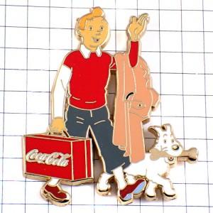 ピンズ・タンタンとスノウィ犬ミールー広告コカコーラの旅行鞄バンドデシネBD