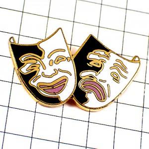 ピンバッジ・悲喜こもごも白黒のマスク仮面