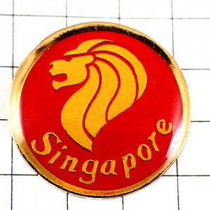 ピンバッジ・シンガポール獅子マーライオン金色