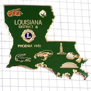 ピンズ・ルイジアナ州ライオンズクラブLワニやエビ果物アメリカ/USA