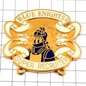 ピンバッジ・オートバイ二輪クラブ白馬の青騎士ブルーナイト紋章