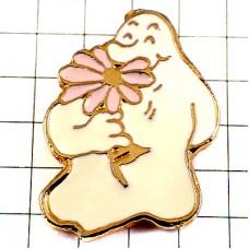ピンバッジ・ピンクの花の匂い白いお化けナタン出版社