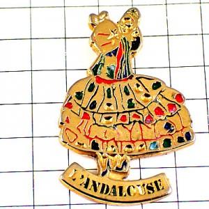 ピンバッジ・フラメンコ踊り子アンダルシア地方ダンサー女の子