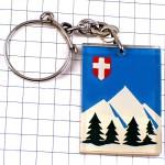 キーホルダー・雪山サヴォワ白い十字の紋章アルプス山脈