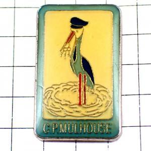 ピンバッジ・鍵カギ3本コウノトリ背広を着た鳥ネクタイ姿