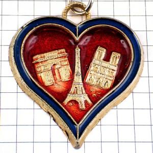 キーホルダー・パリのエッフェル塔ノートルダム寺院ハート凱旋門