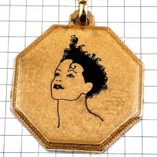 キーホルダー・黒い髪の女の子ゴールド金色の八角形