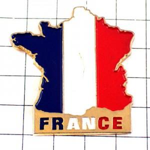 ピンバッジ・フランス地図型トリコロールカラー青白赤