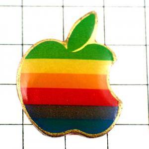 ピンバッジ・アップル虹色林檎マッキントッシュコンピュータ機