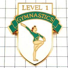 ピンズ・レベル1女子体操選手レオタード緑