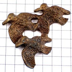 ピンズ・ブロンズ色の鳥3羽ハンティング狩猟