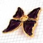 ブローチ・イヴサンローランYSL蝶々チョウチョウ型バイオレット紫色