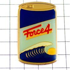 ピンバッジ・大きな波と太陽の飲み物ジュースの缶