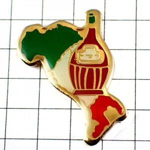 ピンバッジ・ブドウ葡萄酒ワイン瓶イタリア国旗色の地図