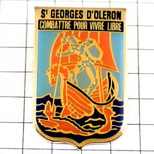 ピンバッジ・オレロン島の聖ゲオルギオス竜退治ボート帆船の紋章