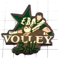 ピンバッジ・バレーボール選手レシーブ白い球スター緑グリーンの星