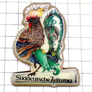 ピンバッジ・ニワトリ雄鶏アート南ドイツ新聞