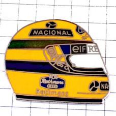 ピンバッジ・アイルトンセナF1ヘルメット車レース黄色